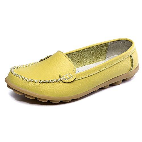 SCIEN Frauen Casual Loafers Echtes Leder Driving Mokassins Slip-On Flache Schuhe Grün