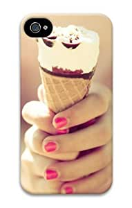 iPhone 4 4S Case, Ice Cream Girl Hands Nails Personalized Case for iPhone 4 4S 3D PC Material