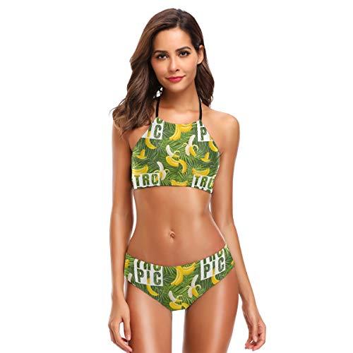 Women's Ladies Sexy Swimsuit Bikini Sets Banana and Palm Lace Up Halter Beach Swimwear -