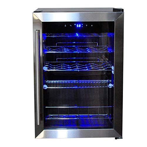 Smad 19 Bottles Counter top Wine Cooler with Digital Control, Quiet Operation cellar with handle, Black and Stainless Steel
