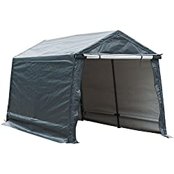 Abba Patio Storage Shelter 7 x 12- Feet Outdoor Carport Shed Heavy Duty Car Canopy, Grey