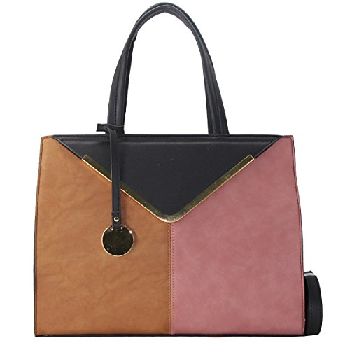 Leather Women's Tote Work Rigid Designer Student Shopping Faux Black Camel School Shoulder Brown Size Colored Fashion Shopper Handbag Girl Handle Large Multicolor Pink Bag Top Bag CRAZYCHIC Lady PwdqAd