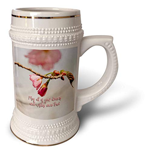 - 3dRose Alexis Design - Holidays Easter Greetings - May all your dreams and wishes come true. Good wishes, Sakura buds - 22oz Stein Mug (stn_308152_1)