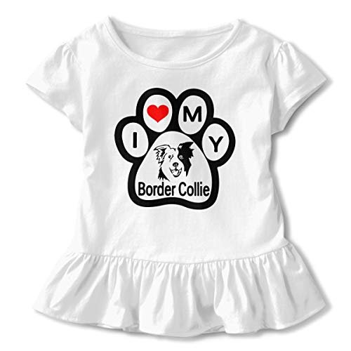 (Toddler Baby Girl I Love My Border Collie Funny Short Sleeve Cotton T Shirts Basic Tops Tee Clothes White)
