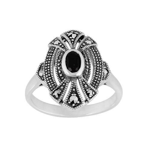 Gemondo Art Deco Style Ring, Sterling Silver 0.30ct Black Onyx & 0.14ct Marcasite (Art Deco Marcasite Ring)
