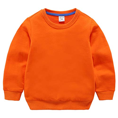 HAXICO Unisex Kids Solid Cotton Pullover Sweatshirt T-Shirt Toddler Baby Boys Girls Crewneck Long Sleeve T-Shirt Tops Blouse Orange ()