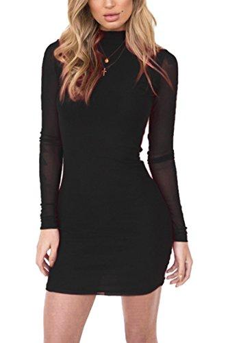 LaSuiveur Women s Turtleneck Mesh Insert Velvet Bandage Party Bodycon  Dresses 973661cfa