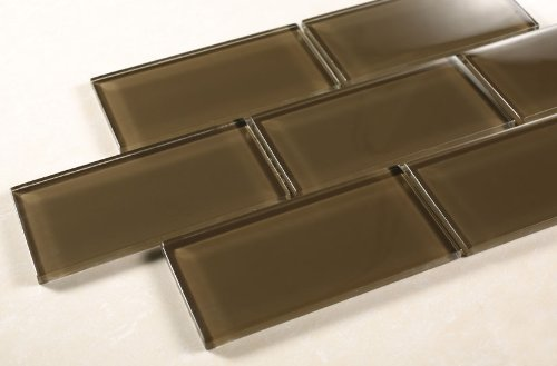 Chocolate - 3x6 Coffee Glass Tile - Bathroom Tile & Kitchen Backsplash Tile (Price per square feet, 8 pieces) by Marble 'n things