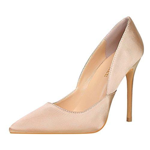 YMFIE Estilo Europeo Elegante Sexy Zapatos de tacón Alto de satén Zapatos de Punta y Solo Zapatos. Champagne color