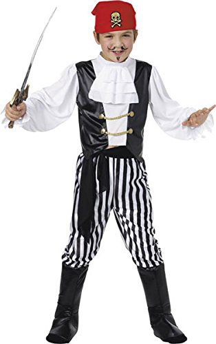 Pirate Costume, Black & White, Shirt, Trousers, Boot Covers, Headscarf, (Pirate Boots Uk)
