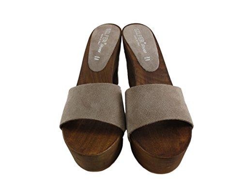 camoscio Vero Susy Zoccolo di Colore Silfer Shoes Pelle Beige Donna Legno wC7CS0xq