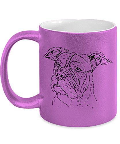 Pit Bull Mug in Metallic Pink - 11oz Pit Bull Cup - Pit Bull Gifts - Pit Bull Coffee Mug