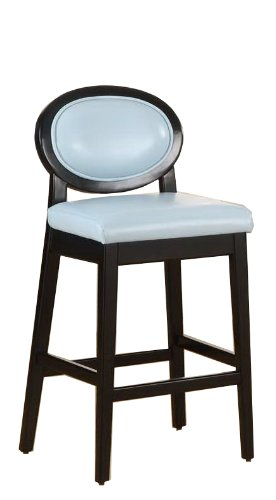 Armen Living 7015 Martini 26-Inch Stationary Barstool, Sky Blue Leather with Black Legs ()