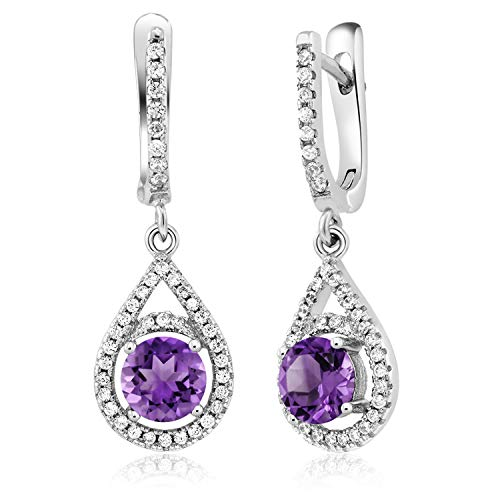 Gem Stone King 2.80 Ct Round Purple Amethyst 925 Sterling Silver Earrings