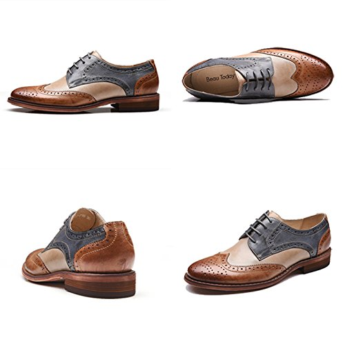 U-lite Brown Blue Perforated Lace-up Wingtip Leather Flat Oxfords Vintage Oxford shoes Women BB 8
