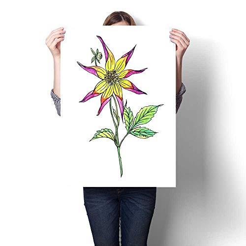 Anshesix Wall Art Canvas Prints Dahlia Star-Shaped Print Paintings for Home Wall Office Decor 32