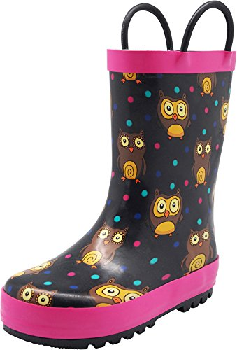 NORTY - Girls Owls Print Waterproof Rainboot, Black, Fuchsia 40156-4MUSBigKid