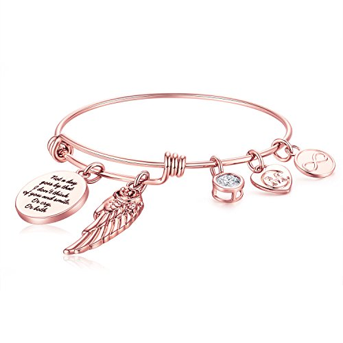Guardian Angel Wing Expandable Wire Bangle Charm Bracelet for Women Girl MOM Gifts Jewelry from Charmire