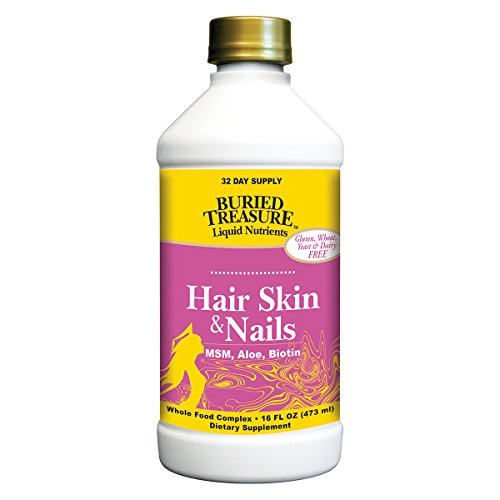 Buried Treasure Hair, Skin and Nails with MSM Biotin Aloe Vera Plus Vitamins and Minerals in a High Potency Liquid Whole Food Complex for Fuller Hair, Stronger Nails and Clearer ()
