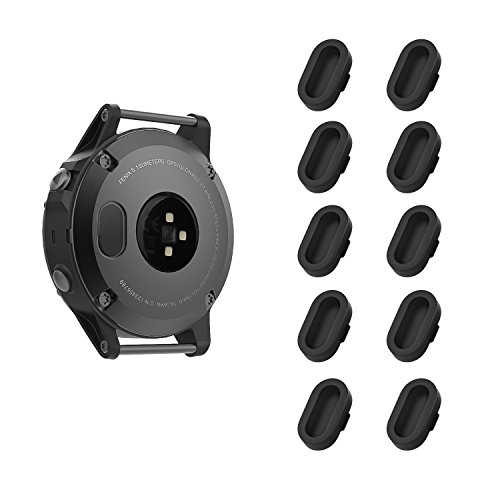 MoKo Garmin Fenix 5/5S/5X/Plus/Forerunner 935 Dust Plug, [10 PACK] Soft Silicone Charger Port Protector Anti Dust Plugs Caps for Garmin Fenix 5/5S/5X/Forerunner 935 Smart Watch, Black