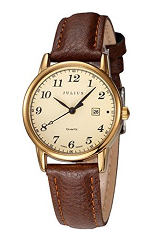 JULIUS JA-508 Female Gold Tone Arabic Numeral Quartz Analogue Display Fashion Casual Calendar Wrist Watch Women's Business Dress Waterproof Wristwatch
