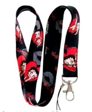- Betty Boop Red Heart and Kiss Lanyard Key Chain Holder