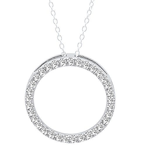 1.50 Carat (ctw) 14K White Gold Round White Diamond Circle Pendant 1 1/2 CT (Silver Chain Included) -