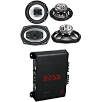 2) Boss R94 6x9 500W 4 Way Car + 2) 6.5 300W 3 Way Speakers + 400W 4-Ch Amp
