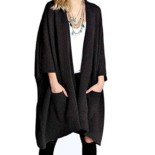 Rimi Hanger New Ladies Womens Chunky Knitted Baggy Oversized Pocket Long Jumpers Cardigans Cape Top Black Small (Long Black Jumper)