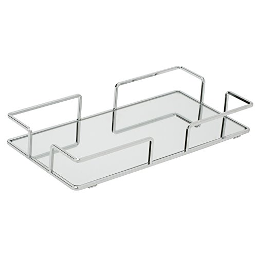 Home Details Mirrored Vanity Tray for Dresser, Perfume, Desk, Cosmetic & Jewelry Organizer, Decorative, Chrome by Home Details (Image #3)