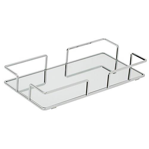 Home Details Mirrored Vanity Tray for Dresser, Perfume, Desk, Cosmetic & Jewelry Organizer, Decorative, Chrome (Mirrored Chrome Vanity)