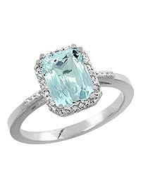 10K White Gold Natural Aquamarine Ring Emerald-shape 8x6mm Diamond Accent, sizes 5-10