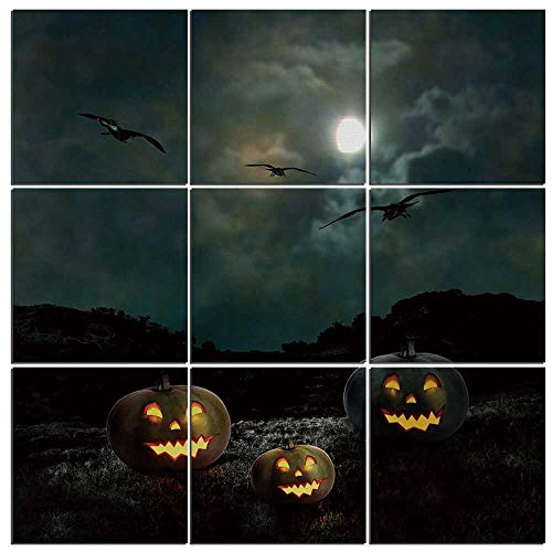 (iPrint 9 Piece Canvas Wall Art - Halloween Modern Home Decor Stretched and Framed Ready to Hang,Yard of an Old House at Night Majestic Moon Sky Creepy Dark Evil Face)