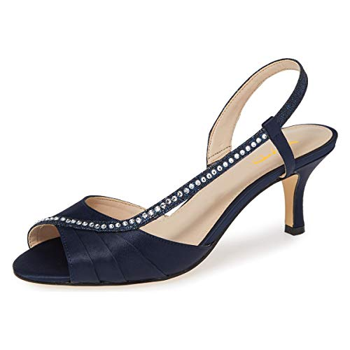 XYD Women Comfy Peep Toe Low Heel Sandals Strappy Satin Slingback Wedding Bridal Dress Shoes with Rhinestones Size 9.5 Dark Blue