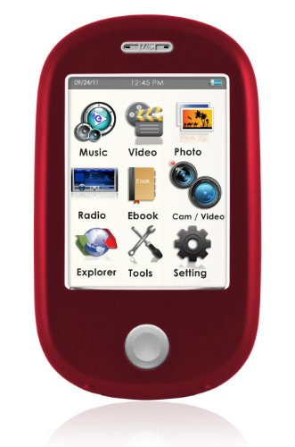 Ematic EM638VIDRD Touch Screen MP3 Video Player with 5MP Camera with LED Flash and Video (Ematic E6)