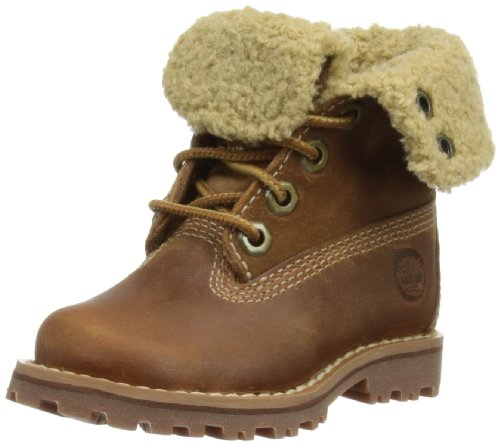 Timberland Authentics 6-Inch Shearling Fold Down Waterproof Boot (Toddler/Little Kid/Big Kid),Brown,3.5 M US Big Kid by Timberland