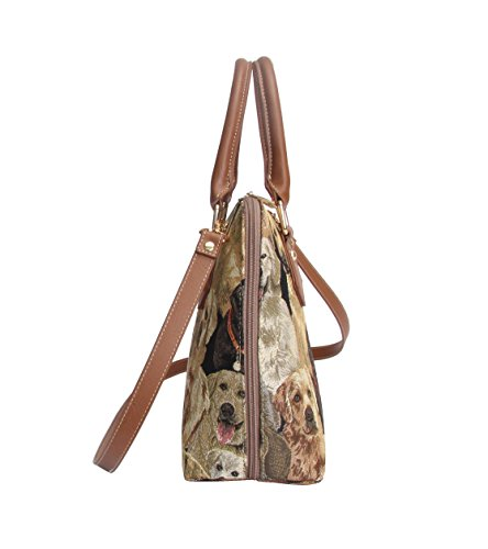 Handle Women Tapestry Handbag Dog Bag CONV Signare Labrador Body Shoulder Bag Cross Top LAB HxwtW65T