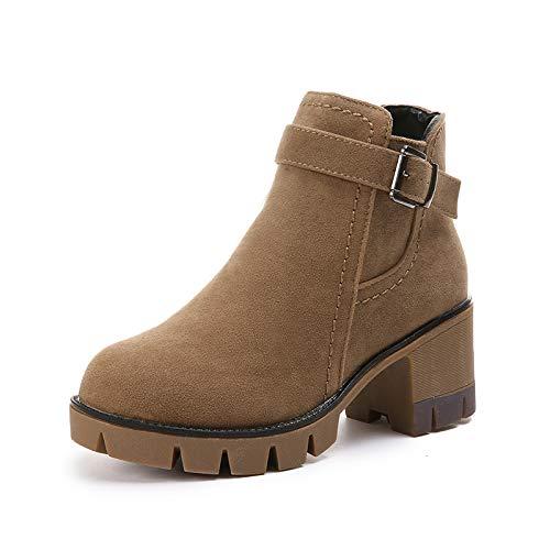 Khaki Gruesa Hoesczs Redonda Con Tacón New Botas Plataforma Martin Mujer De Impermeable Boots Cabeza Mate Alto Zapatos Para Cortas Cuero rq7wrCWH