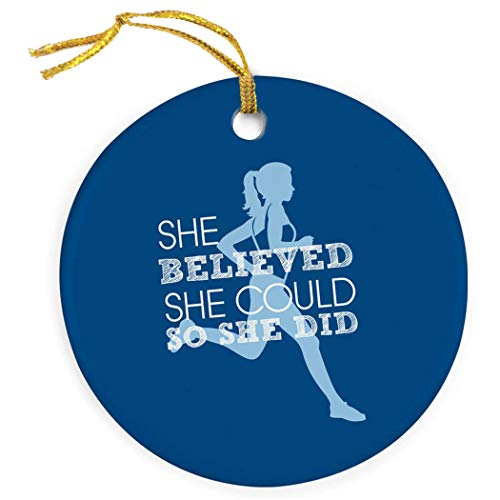 Gone For a Run She Believed She Could Ornament   Running Porcelain Ornaments   Blue (Ornament Country Cross Christmas)
