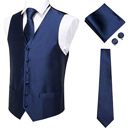 Hi-Tie Men's 4pc Navy Blue Vest Necktie Pocket Square Cufflinks Set for Suit or Tuxedo More Color for Choose