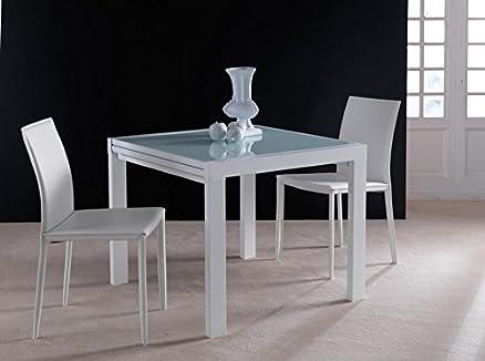 tavolo quadrato allungabile in cristallo acciaio sala soggiorno ... - Soggiorno Quadrato 2