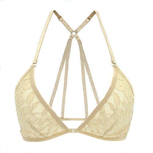 FRDMBeauty Sexy Unlined Lace Sheer Bralette Bikini Top Lingerie Bra Underwear Woman's Racerback (Skin-JC, S)