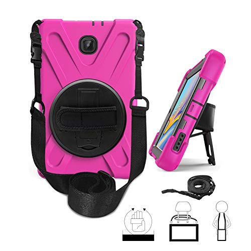 Galaxy Tab A 8.0 2018 Case, Hybrid Three Layer Heavy Duty Protective Case With Hand Strap, Shoulder Strap & 360 Rotating KickStand for Samsung Galaxy Tab A 8 Inch 2018 Release SM-T387 - Hot Pink
