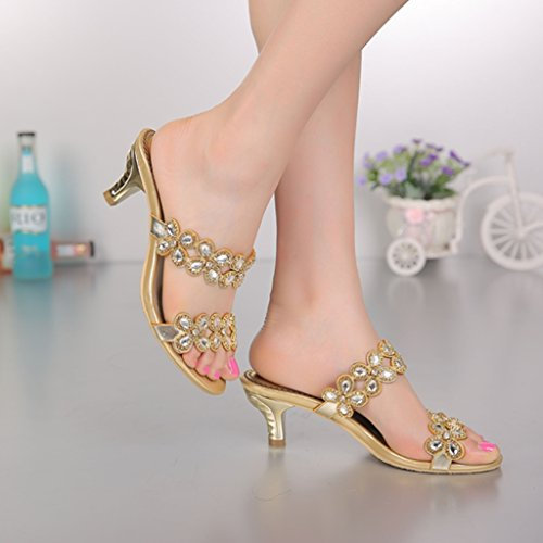 Leather Rhinestone Wedding Gold Sweet Prom CRC Womens Sparkle Floral Sandals Party Slippers nxAqRX0w