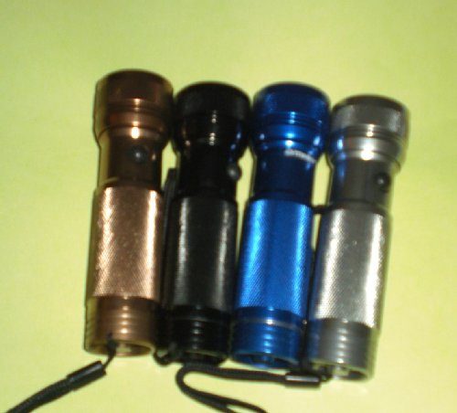 - 1 (One) Blue or Black or Gun Metal Silver or Copper Gold (Sent Randomly) 12 Light Bulbs LED Super Intense Bright Heavy Duty Aluminum Flashlight. Perfect for Camping Sport, Safety Pack, Car Glove Compartment, Garage, Tools Work Shop, Office ......Anywhere or Everywhere. 3 AAA Battery Batteries Included - Great Value Gifts!