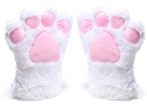 Odema Womens Winter Warm Gloves Cosplay Cat Paw All Cover Mittens for Girls -
