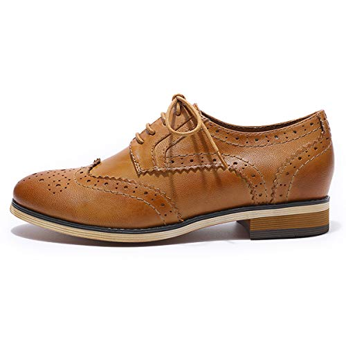 Shoes Women Leather up MIKCON Perforated Multicolor Shoes for Brougue Women's Lace Brown Wingtip Oxfords qCaYUC