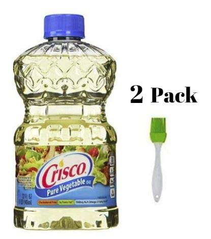 Crisco Pure Vegetable Oil, 32 Ounce (2 pack) Bundled with Silicone Basting Brush in a Prime Time Direct Sealed Bag by Crisco