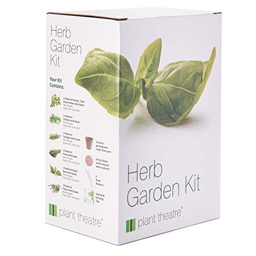 Plant Theatre Herb Garden Seed Kit Gift Box - 6 Different Herbs to Grow, Includes: GREEN ITALIAN PARSLEY, SWEET BASIL, CILANTRO, TARRAGON, CHIVE AND THYME Seeds. Everything you need to start growing in one box! Superb Gift! (Garden Ideas For Patio Herb)