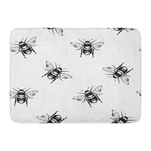 Emvency Doormats Bath Rugs Outdoor/Indoor Door Mat Pattern Honey Bee Engraving Sketch Insect Drawing Doodle Vintage Bathroom Decor Rug Bath Mat 16